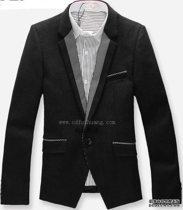 呢脖领男士黑色新款西服推荐图片